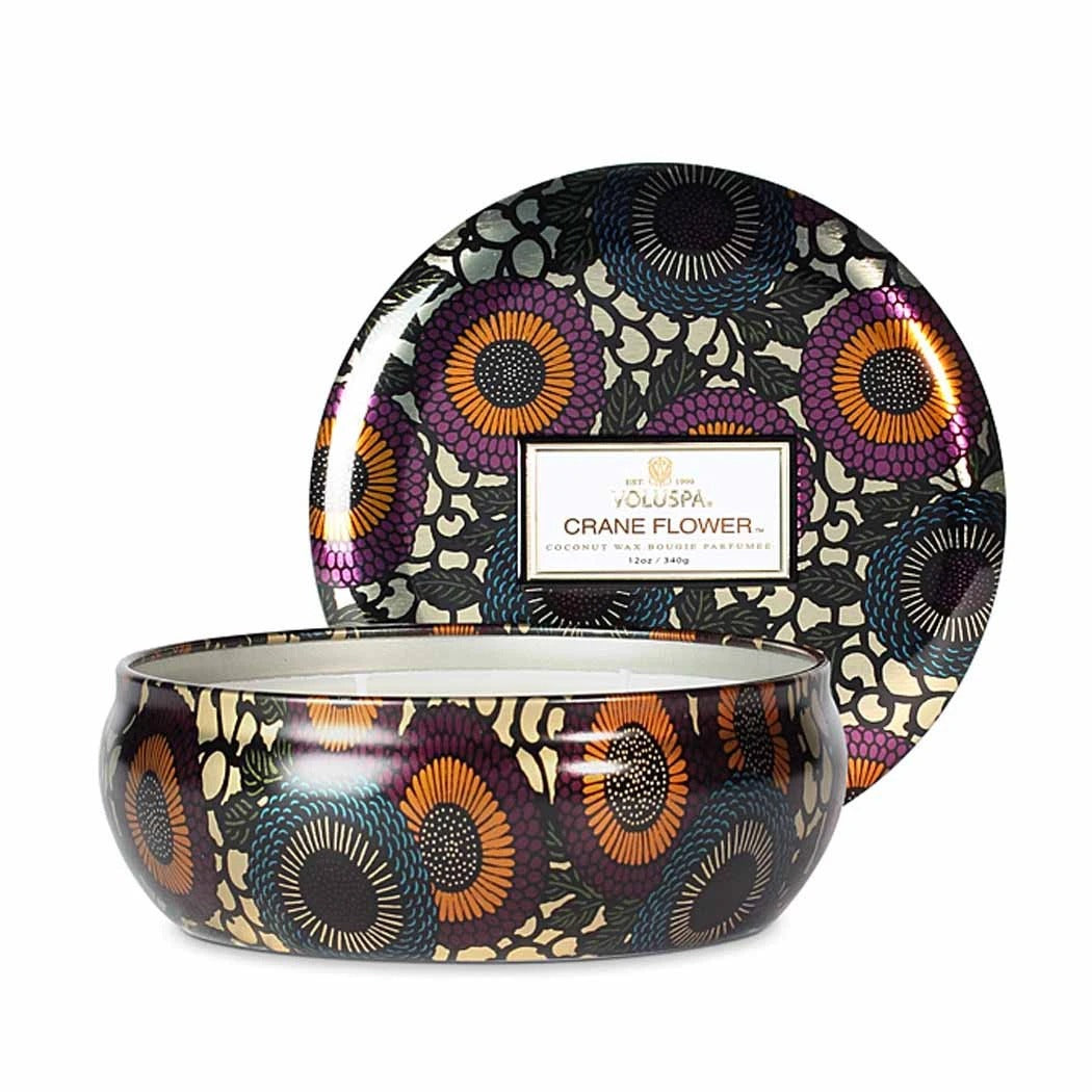 VOLUSPA CRANE FLOWER 3 WICK TIN CANDLE, Gifts - Voluspa - {a} haley boutique