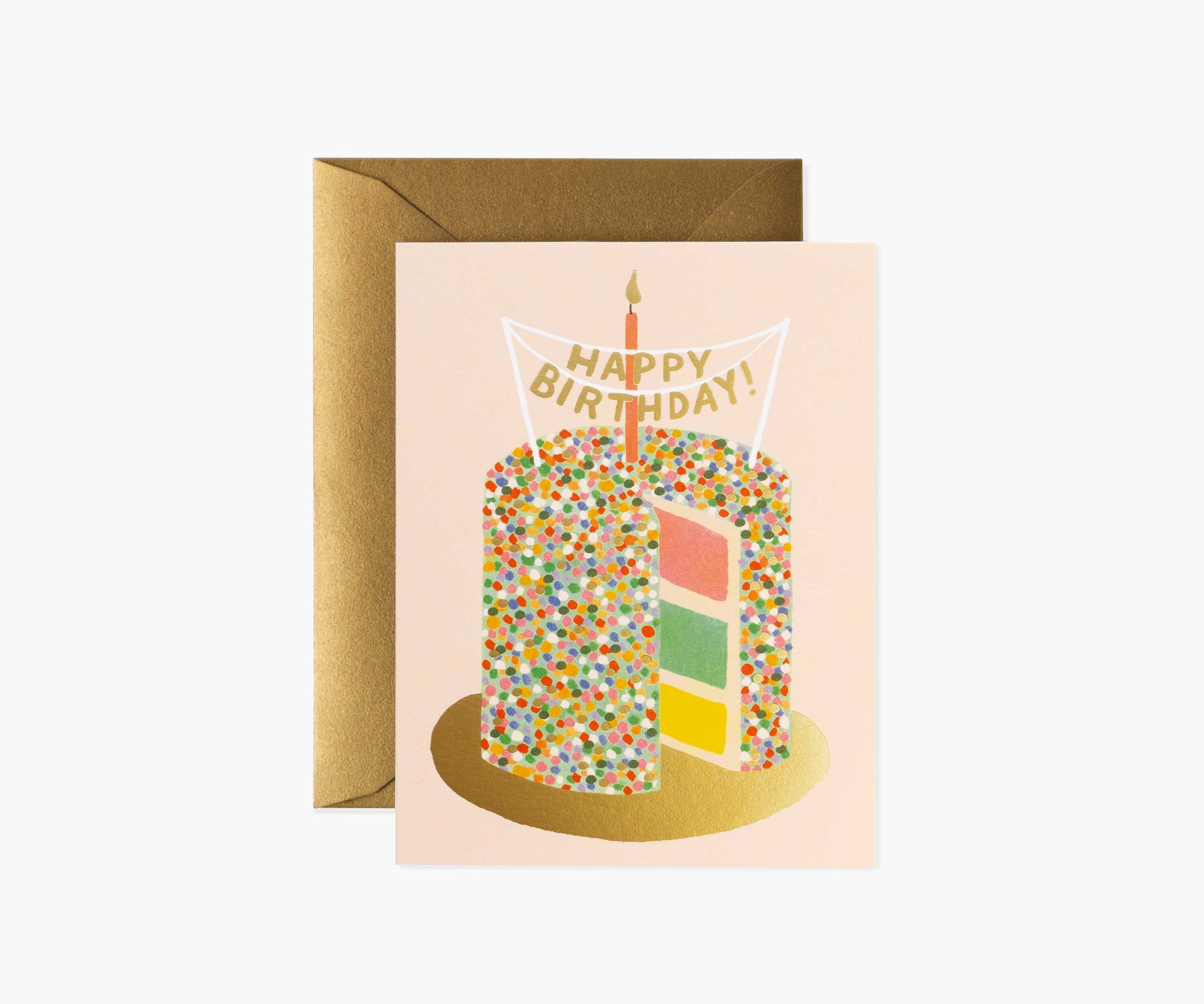 Send happy birthday wishes with the Layer Cake Card. A blank interior lets your handwritten note take center stage.