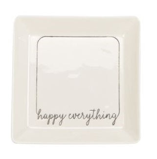 Porcelain coup shape mini tray features debossed sentiment.