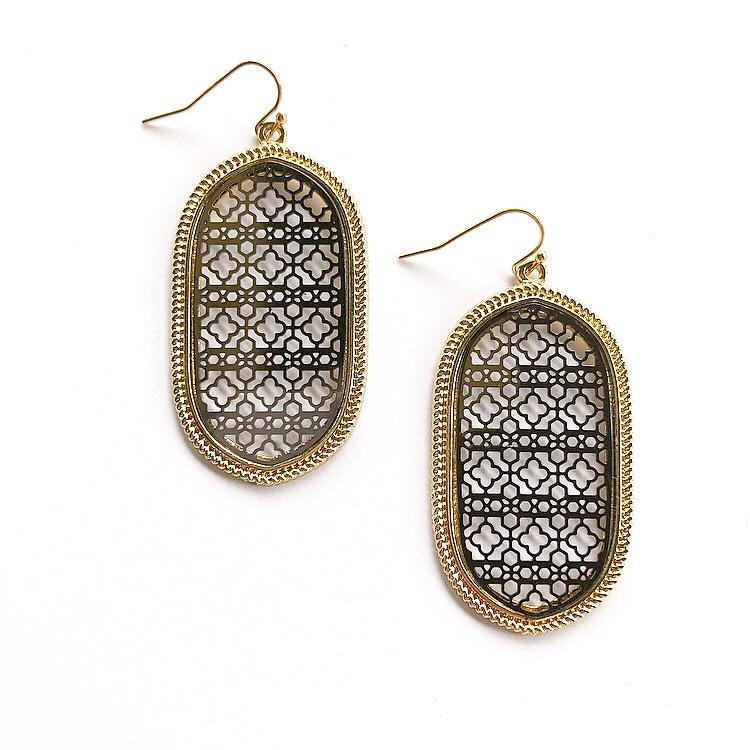 Verna Earrings Black and Gold