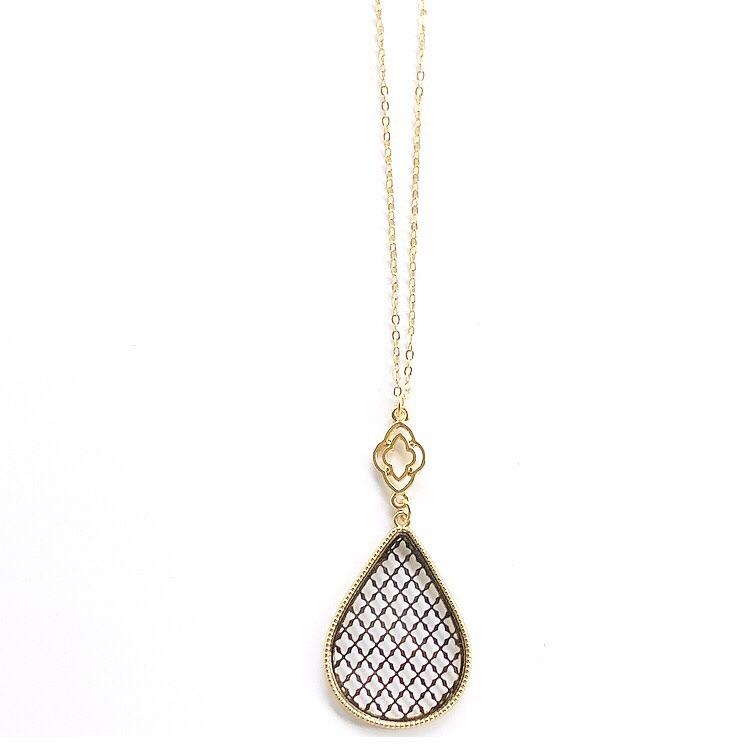 Long Teardrop Necklace Black and Gold