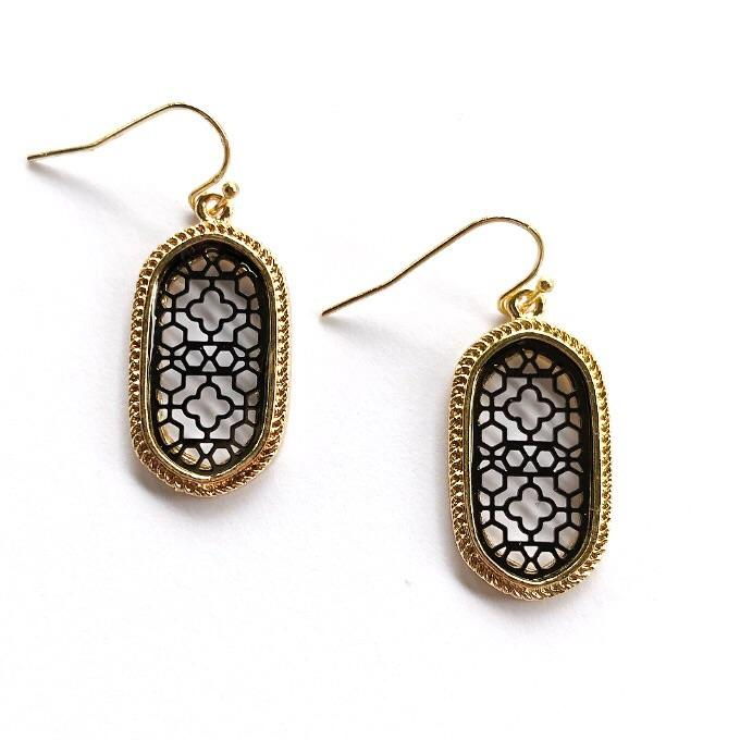 Lizie Earrings Black and Gold