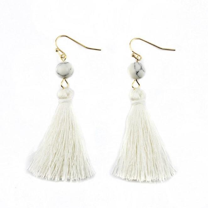 Bead and Tassel Earrings White