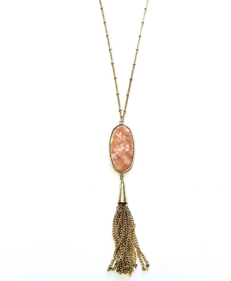 Geo Drop Tassel Necklace Peach