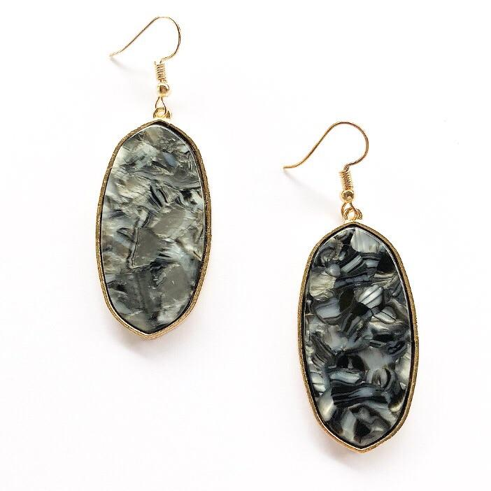 Geo Drop Earrings Charcoal