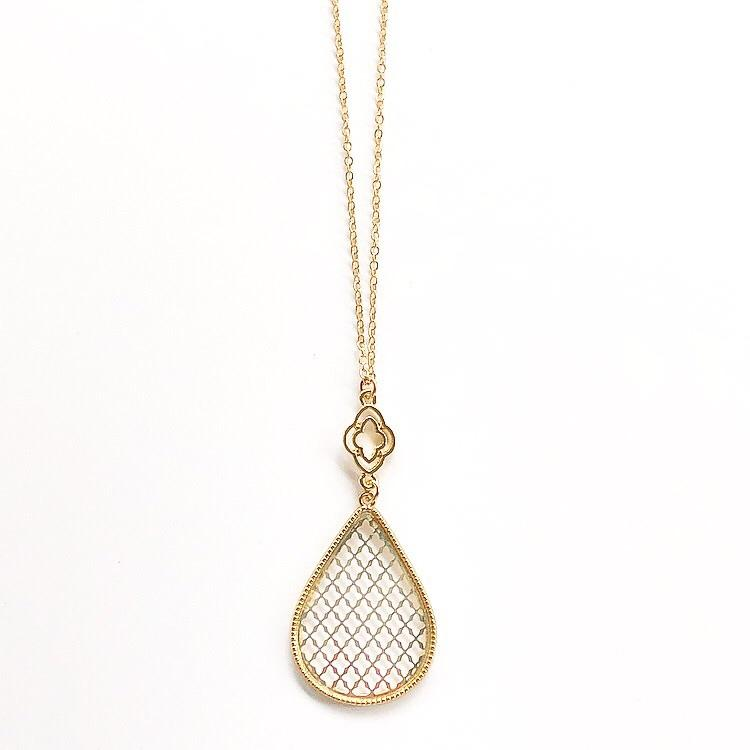 Long Teardrop Necklace Gold and Silver