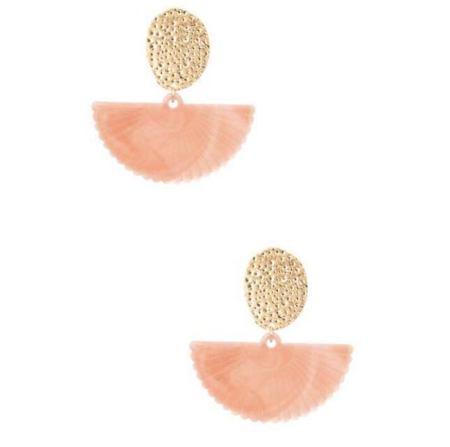 Shell Drop Earrings Peach