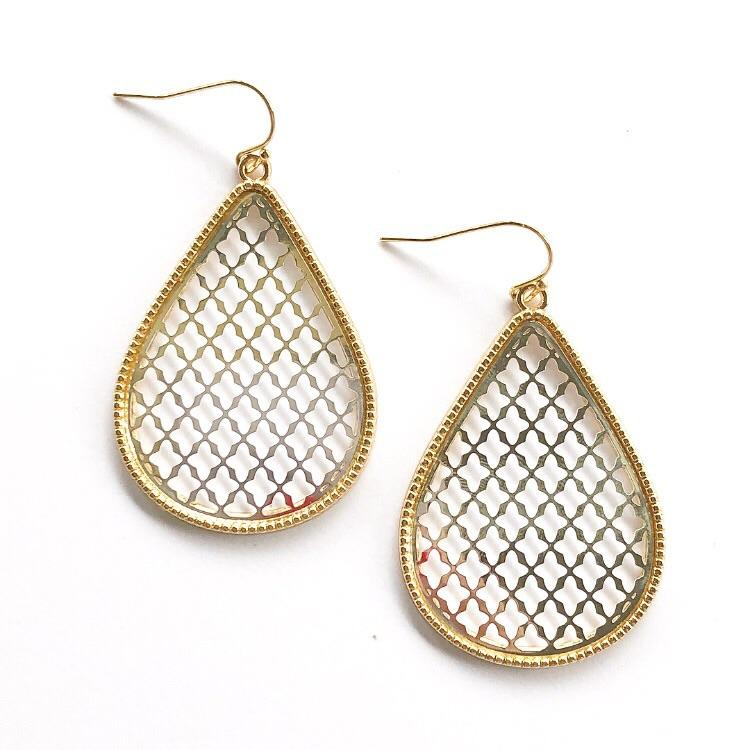 Large Teardrop Earrings Gold and Silver