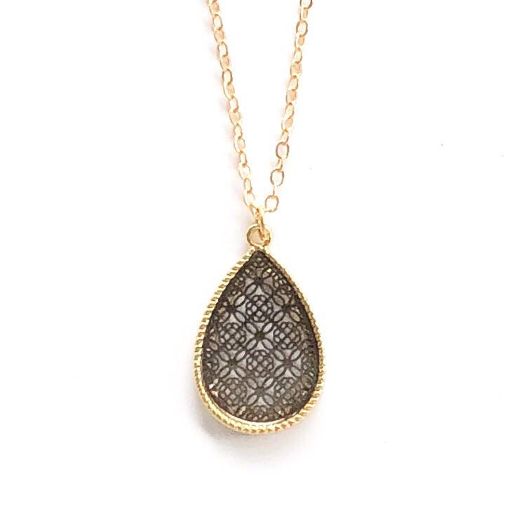 Small Teardrop Pendant Necklace Black and Gold