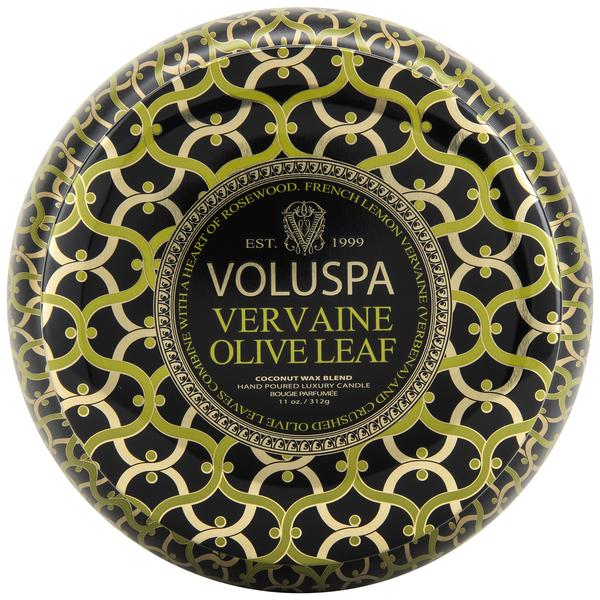 Notes of French Lemon Vervaine (Verbena), Crushed Olive Leaves & Rosewood.These metallic tins are a gorgeous addition to any room!
