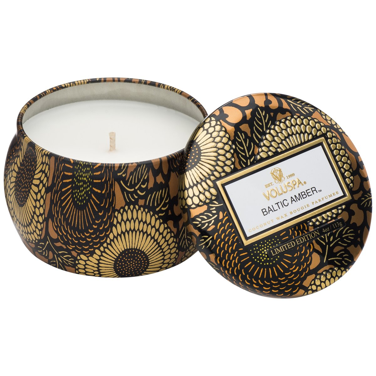 Notes of Amber Resin, Sandalwood, Vanilla Orchid. The perfect size to pepper throughout a room, you'll enjoy a clean burn with our proprietary coconut wax blend.