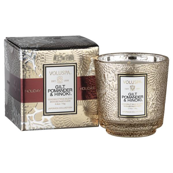 Gilt Pomander & Hinoki Holiday Boxed Mini Pedestal Glass Candle