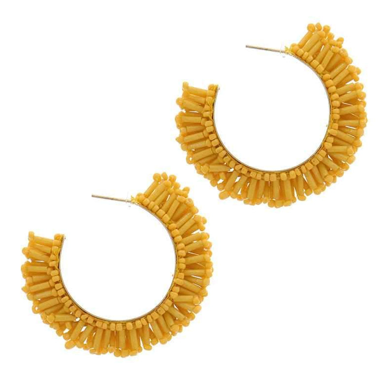 Brittney Beaded Hoop Earrings Yellow
