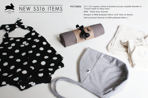 Polkadot Romper and Grey Bonnet