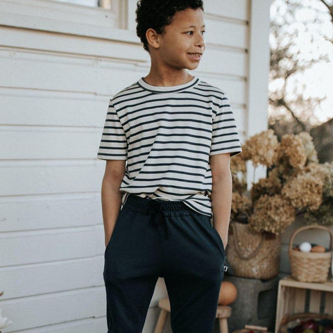 Youth Bamboo/Cotton T-Shirt | Navy Stripe