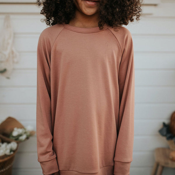 Youth Bamboo/Cotton Pullover | Terracotta