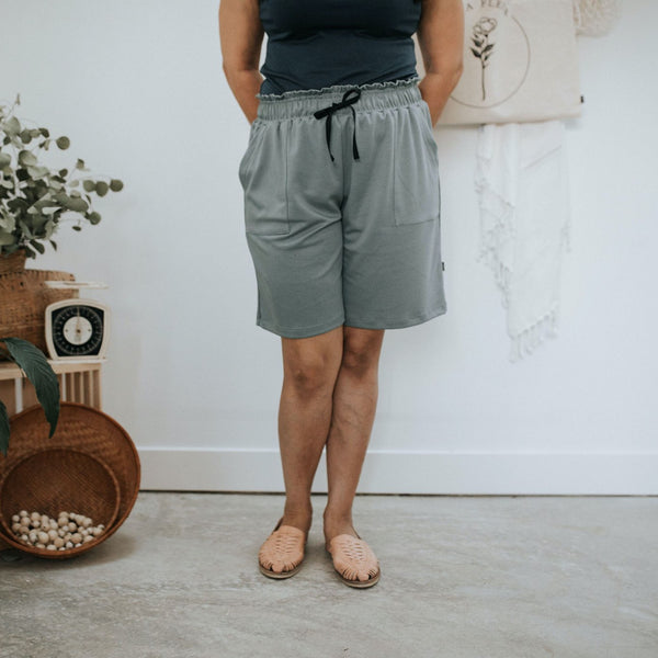 Women's High-Rise Loose Shorts| Eucalyptus