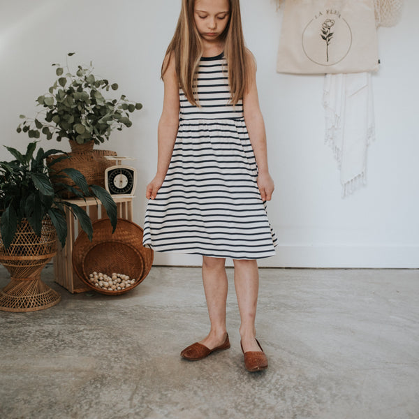 Youth Tank Dress | Navy Stripe
