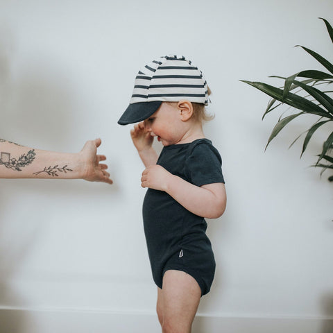 Baby Soft-Brimmed 5-Panel Hat | Navy Stripe