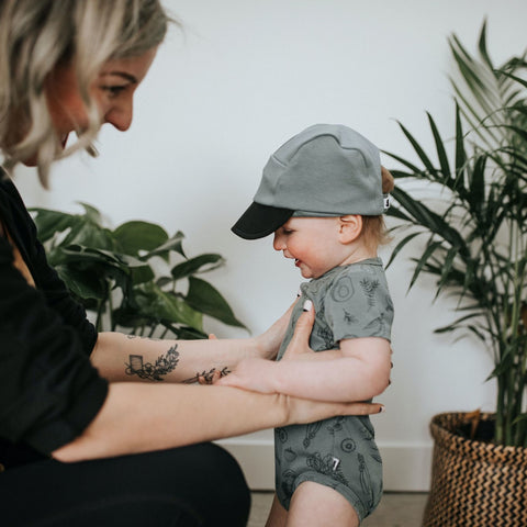 Baby Soft-Brimmed 5-Panel Hat | Eucalyptus + Black