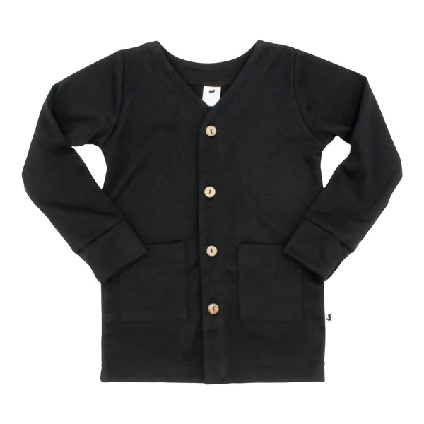 Baby/Kid's Bamboo/Cotton Cardigan | Black (1531390328855)