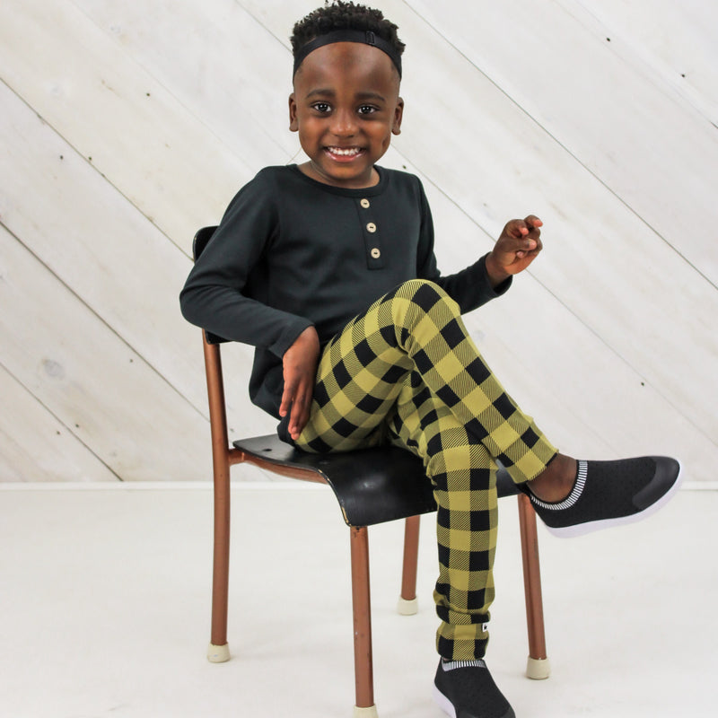 Baby/Kid's Bamboo/Cotton Leggings | Buffalo Plaid on Moss