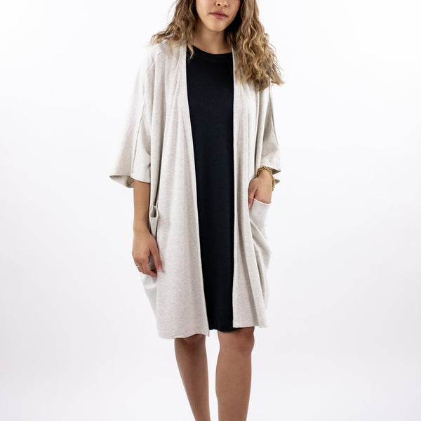 Women's Bamboo/Cotton Blanket Cardigan | Ash