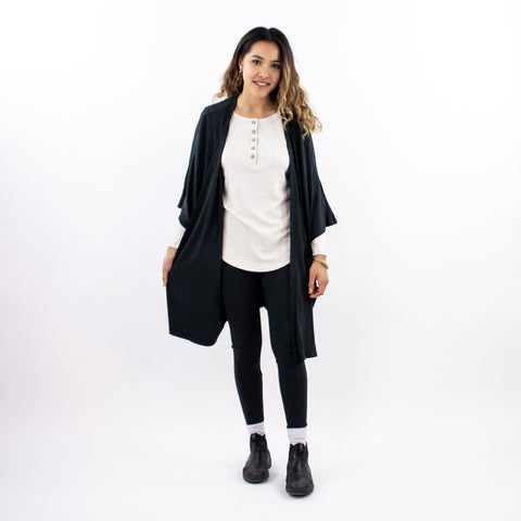 Women's Bamboo/Cotton Blanket Cardigan | Black