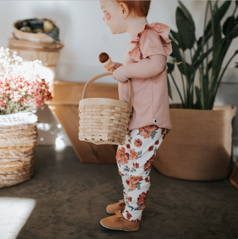 Baby/Kid's Bamboo/Cotton Leggings | Peony