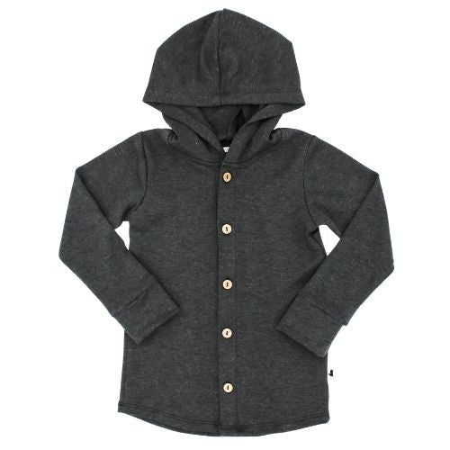 Baby/Kid's Bamboo/Cotton Hooded Button Up | Charcoal