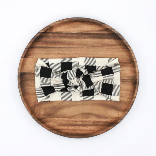 Knotted Headband | Buffalo Plaid on Beige