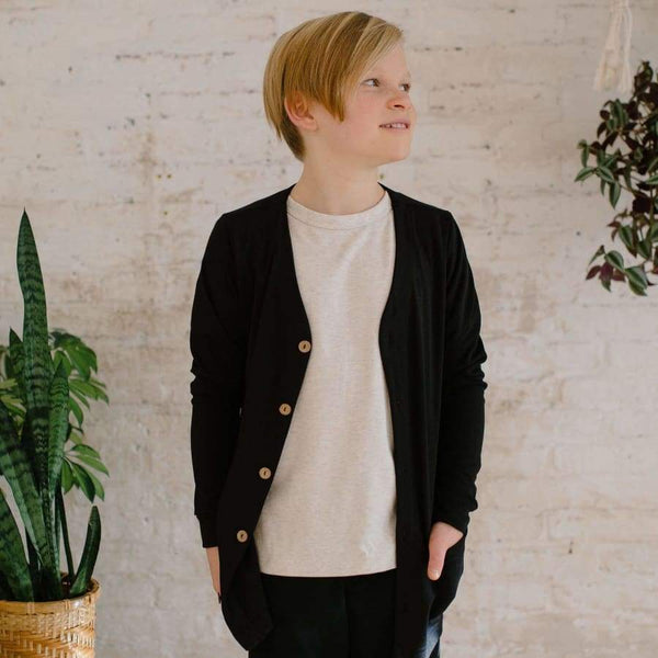 Youth Bamboo/Cotton Cardigan| Black | SS19 Youth Cardigan Little & Lively Canada (1531835416599)