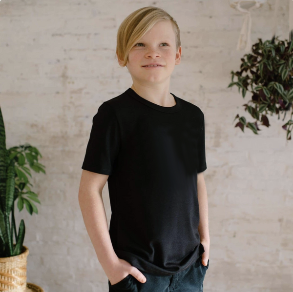 Youth Bamboo/Cotton T-Shirt | Black Youth T-Shirt Little & Lively Canada (1531825094679)
