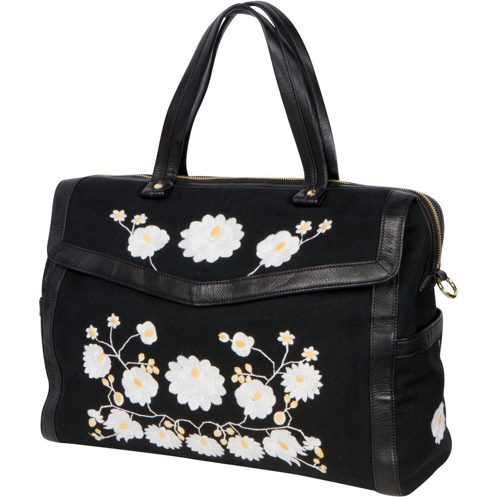 flower embroidered black diaper bag