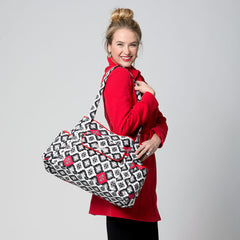 diaper bag tote red on model