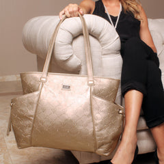 leather gold diaper bag lifestyle image