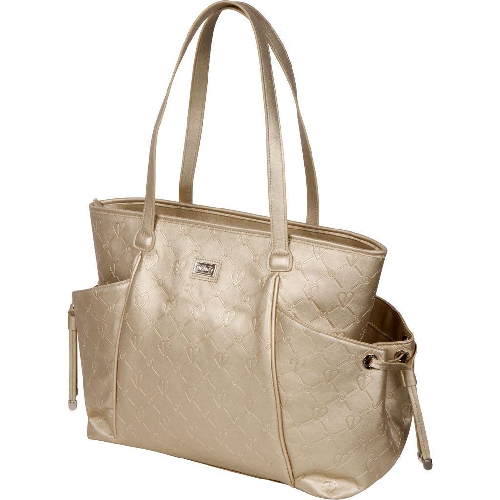 gold leather diaper bag