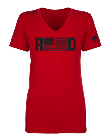 Ladies Vneck - R.E.D (Remember Everyone Deployed)