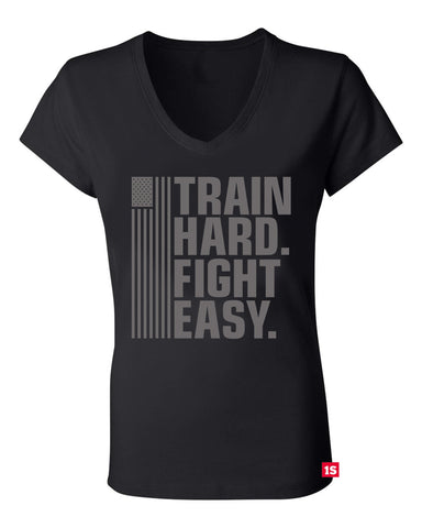 Train Hard Fight Easy - Ladies Vneck (Red Label Edition)