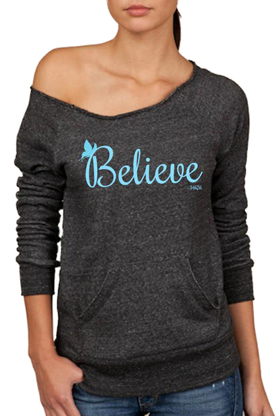 """Believe"" Wide Neck Sweatshirt"