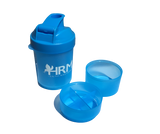 HRM Shaker Bottle with Protein Powder and Vitamin Compartments.