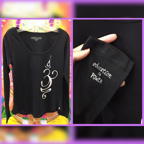 "Mind-Body-Soul Long Sleeve Top ""Ohm"" ""Education is Power"" Black"