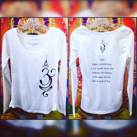 "Mind-Body-Soul Long Sleeve Top ""Ohm"" White"