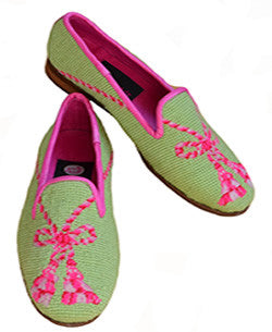 Pink Tassel on Lime Needlepoint Loafers