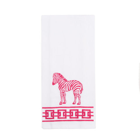Pink Zebra Fingertip Towels
