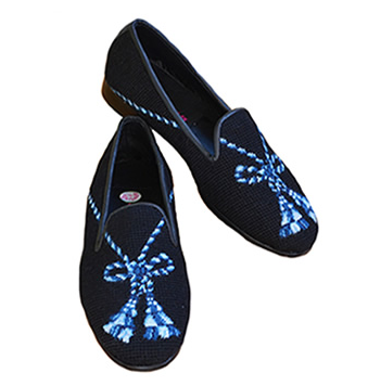 Black Tassel on Blue Needlepoint Loafer