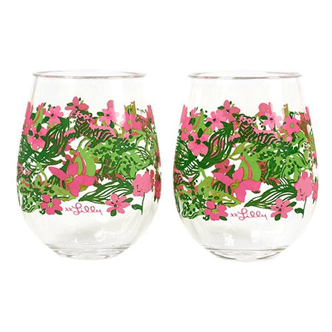 Lilly Pulitzer Stemless Wine Glasses in Tiger Lily