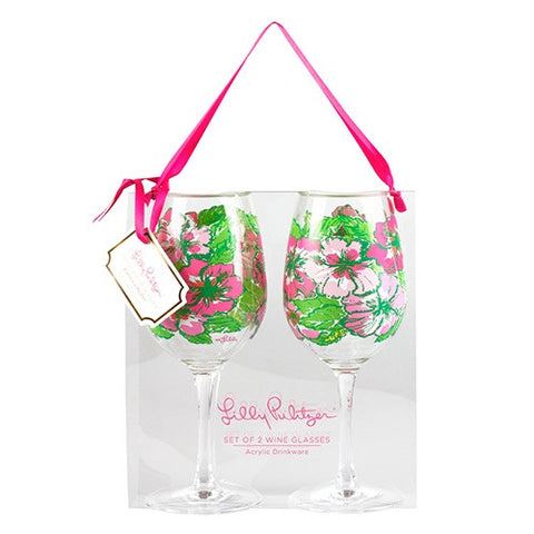 Lilly Pulitzer Set of 2 Wine Glasses in Big Flirt