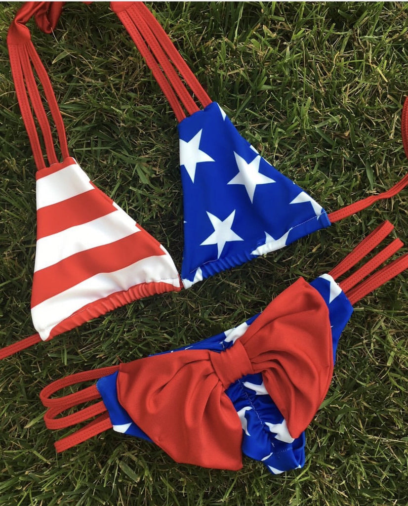 Patriotic Triple Strap Bow Set