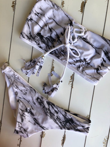Marble Print Bandeau Bottom